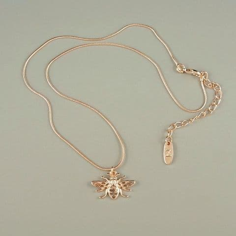 Honey Worker Bee Necklace Rose Gold Colour